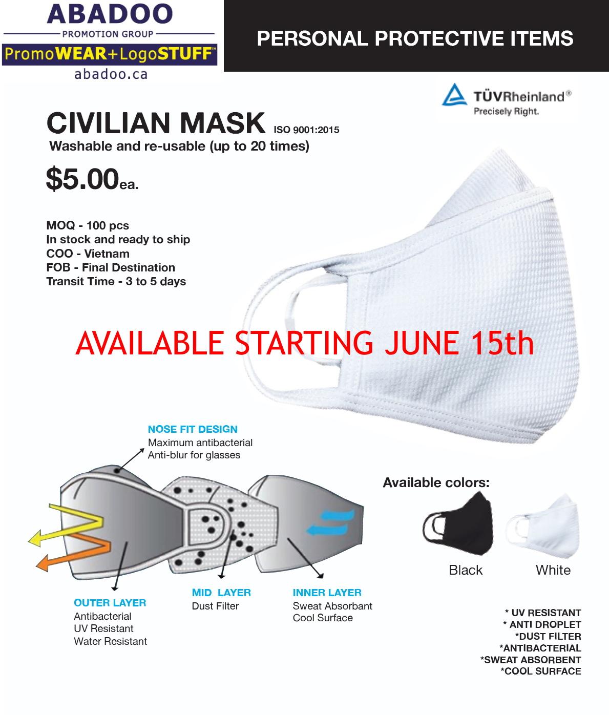 ABADOO Promo PPE Civilian Mask