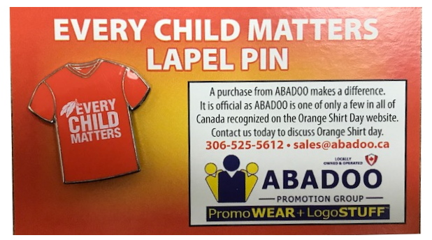 EVERY CHILD MATTERS lapel pin ABADOO Orange shirt day