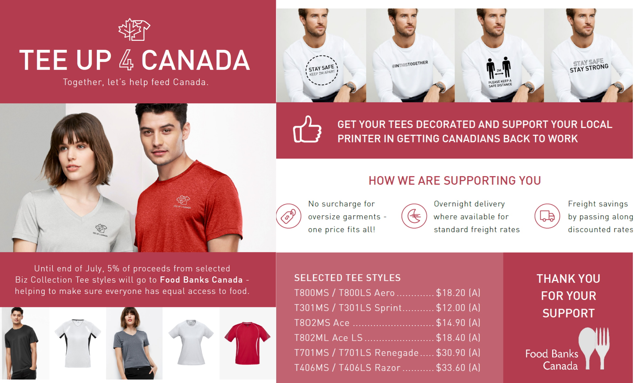 TEE up 4 Canada food banks shirt